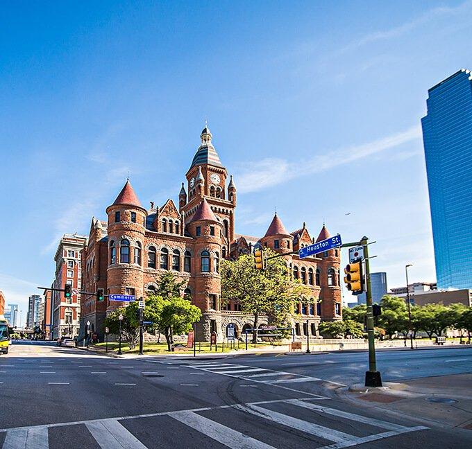 Street view of downtown Dallas, Texas
