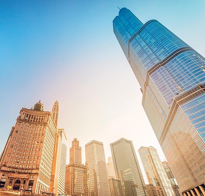 Upward view of skyscrapers in Chicago, Illinois