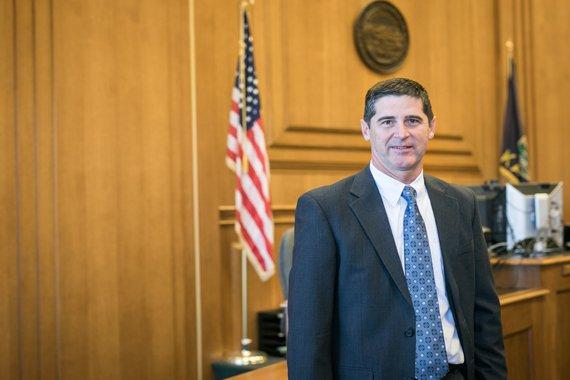 Attorney David Adams in courtroom