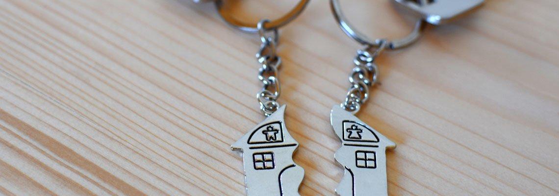 House Keychain Split in Half