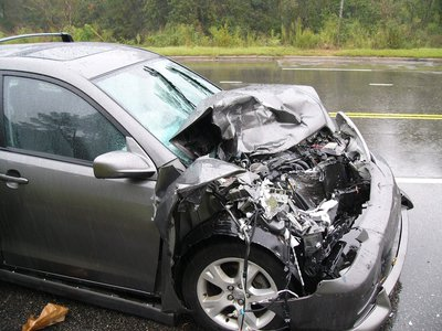 Car crash with auto accident injuries