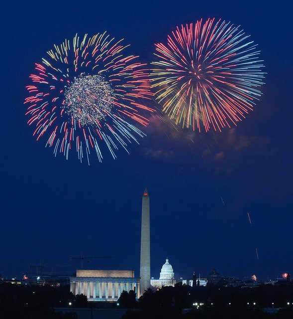 Fireworks blowing up over the Washington Memorial