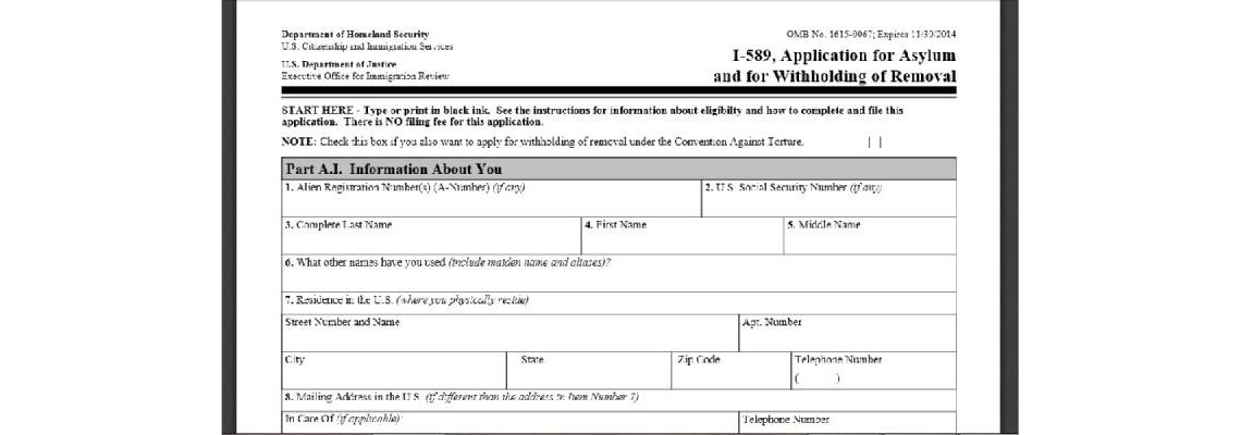I-589, Application for Asylum and for Withholding of Removal