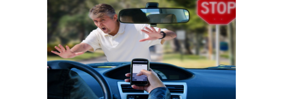 Alarmed man being hit by a texting driver