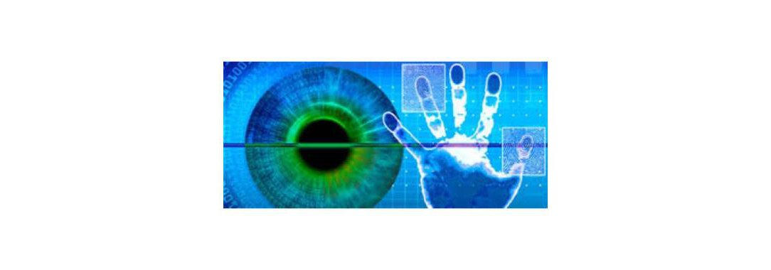 Graphic of biometrics. Handprints and eye scan
