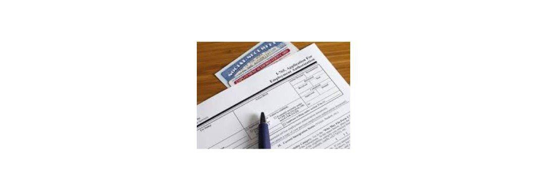 Form I-765, a social security card, and a pen