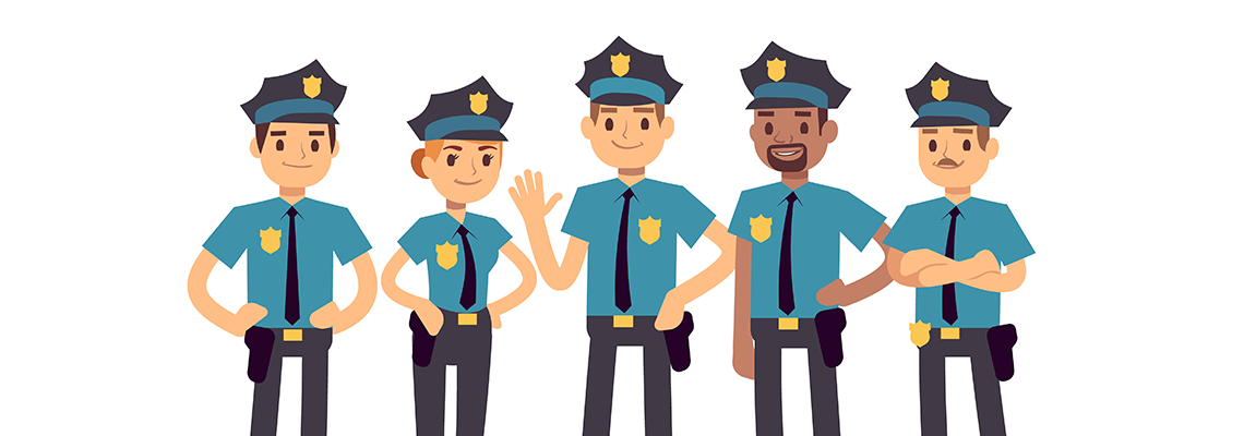 Five cartoon police officers