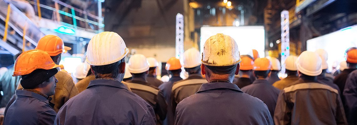 A crowd of construction workers