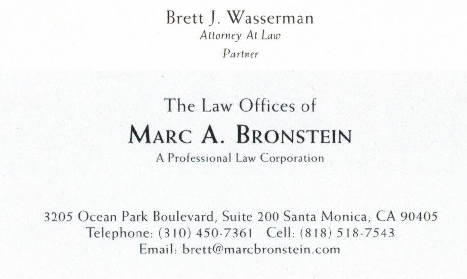 Attorney Marc A. Bronstein Business Card