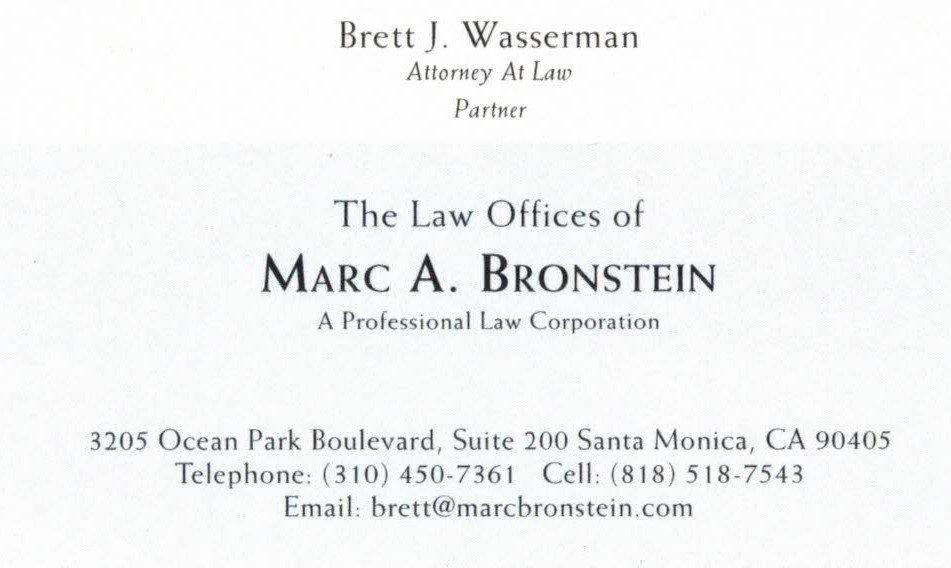 Attorney Marc A. Bronstein Business Card