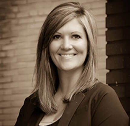 Attorney Jessica M.Christiansen Smiling in Black and White