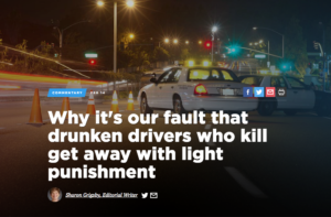 Screenshot of Dallas Morning News headline about drunk driving
