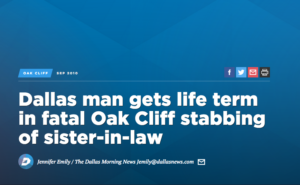 Screenshot of Dallas Morning News headline - A Stabbing death