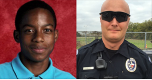 Side by side of a young man and officer