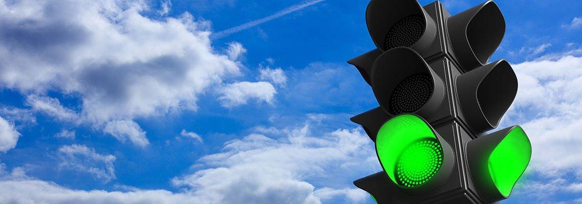 traffic light showing green