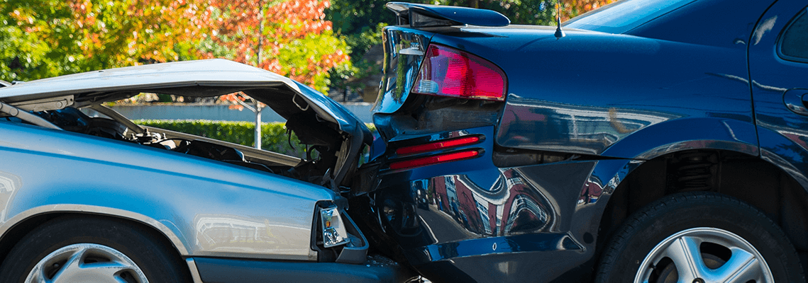 Two cars after a rear-end accident