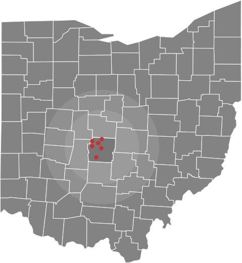 Map of ohio with central county highlighted