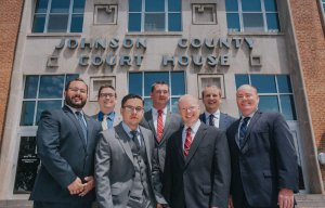 Attorneys of Biesterveld & Cook outside Johnson County Court House