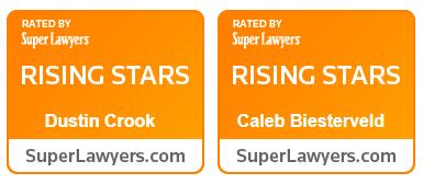 Super Lawyers Rising Stars Badges - Dustin Crook and Caleb Biesterveld