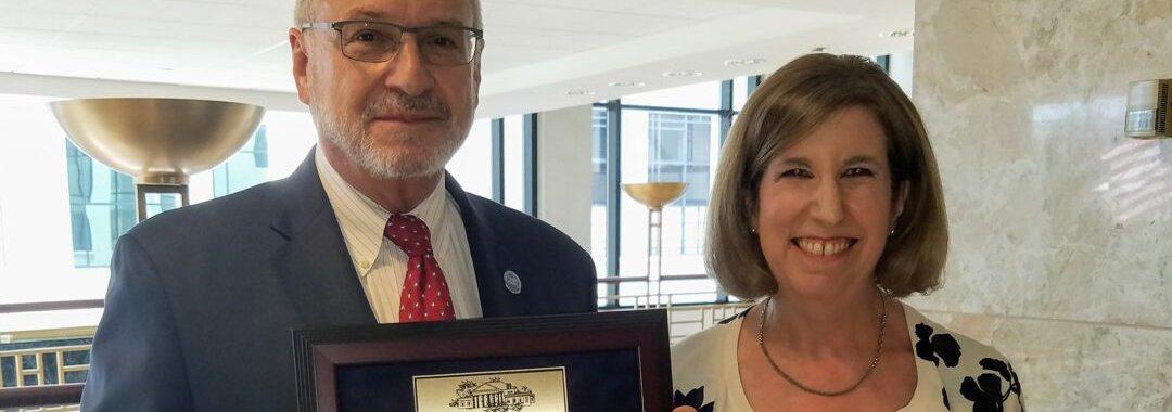 Mark Cummings with Award and Ilissa Belanger