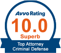 10.0 Avvo Criminal Defense Attorney Rating Badge