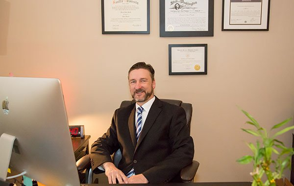 Attorney Daniel J Smith Sitting in his Office