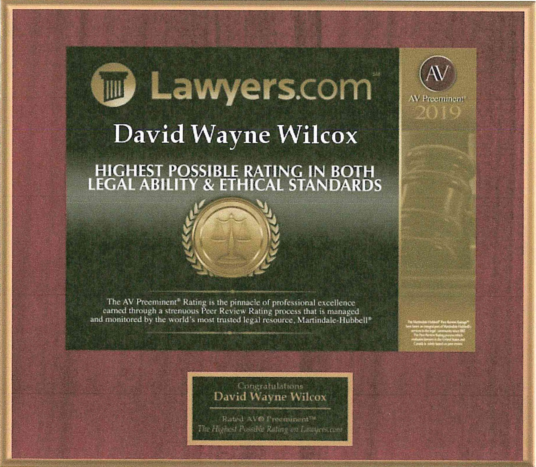 Lawyers.com David W. Wilcox Award