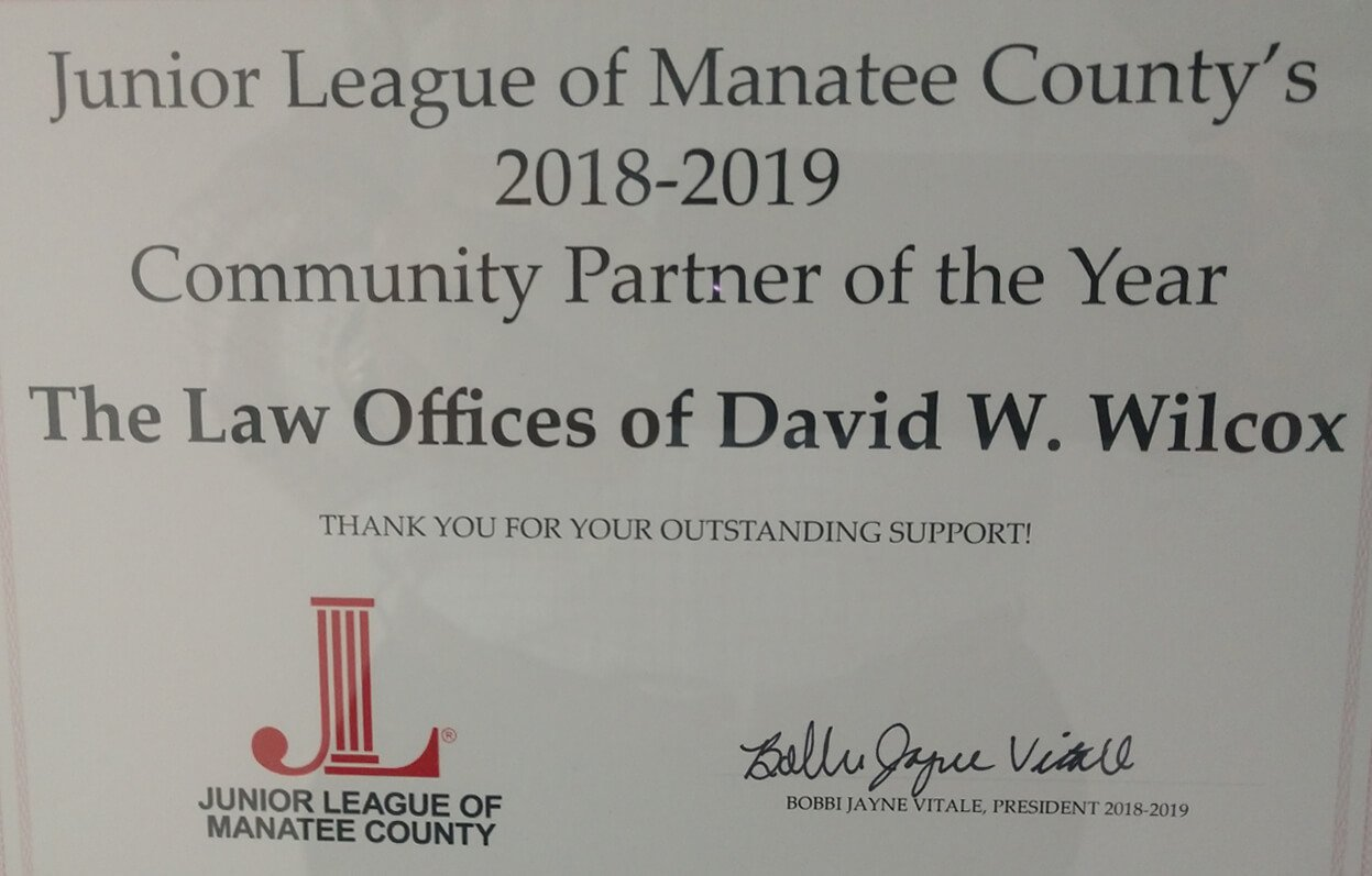 Junior League of Manatee County's 2018-2019 Community Partner of the Year Award