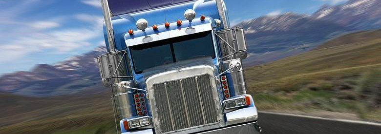 Front of Semi Truck and mountainous background