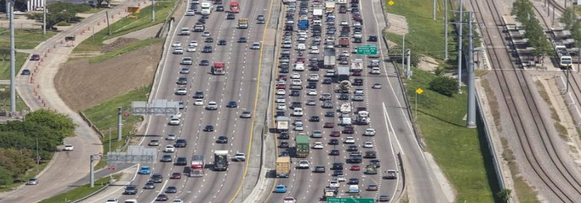 Aerial shot of traffic on a highway