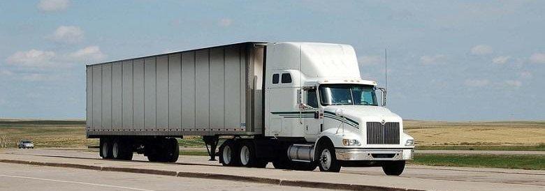 Semi truck driving on road