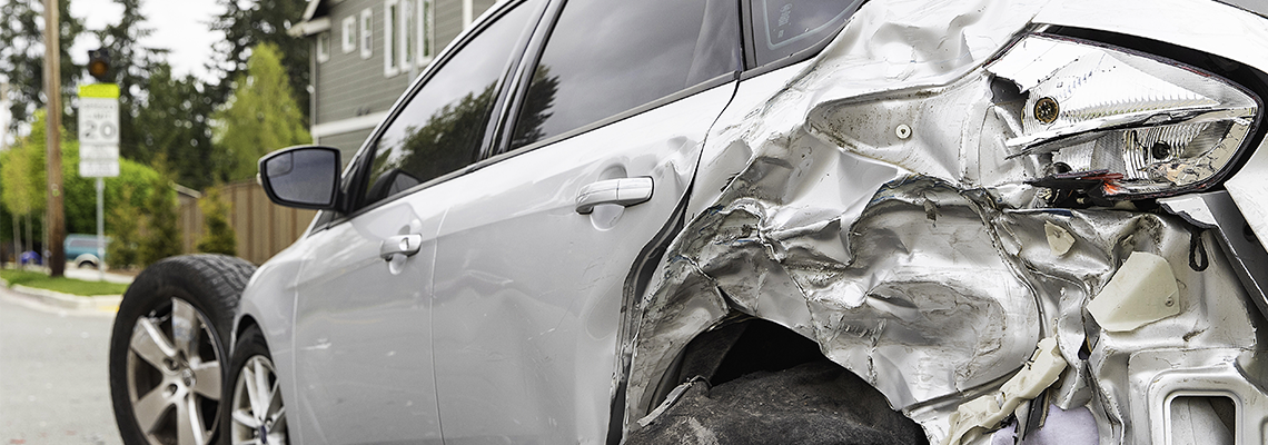 Silver car get damaged by crash accident