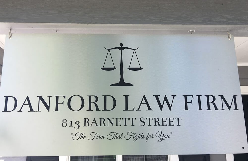 Signage on door at Danford Law Firm