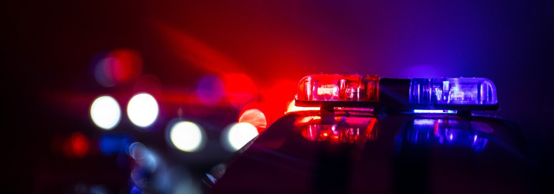 Police lights flashing