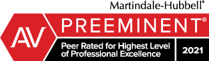 Martindale-Hubbell peer rated for highest level of Professional Excellence badge