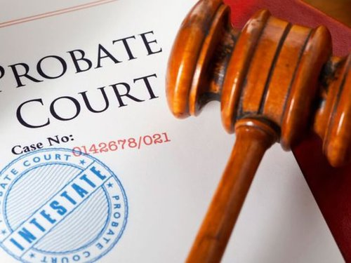 gavel next to document with probate court on it