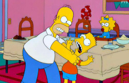 Homer strangling Bart