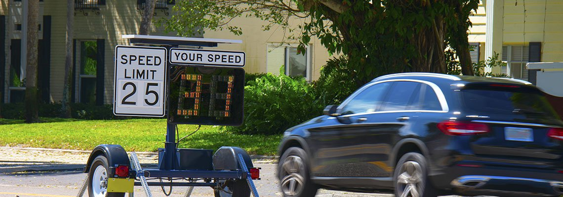 Car passing a speed monitor going 31 mph in a 25 zone