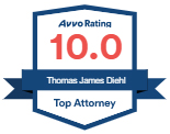 Avvo Badge with 10.0 Rating for Attorney Diehl