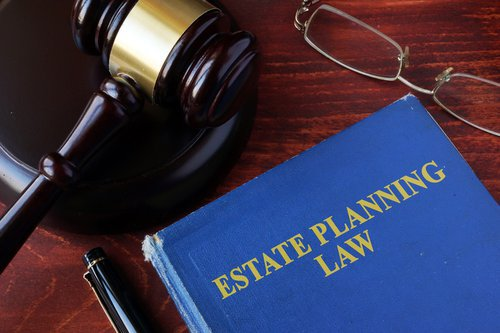 gavel with estate planning law on it