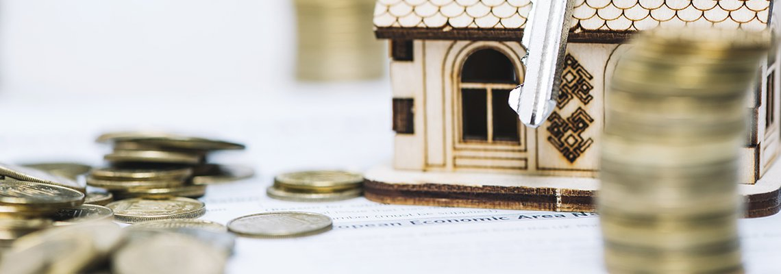 House Miniature and Coins and Key