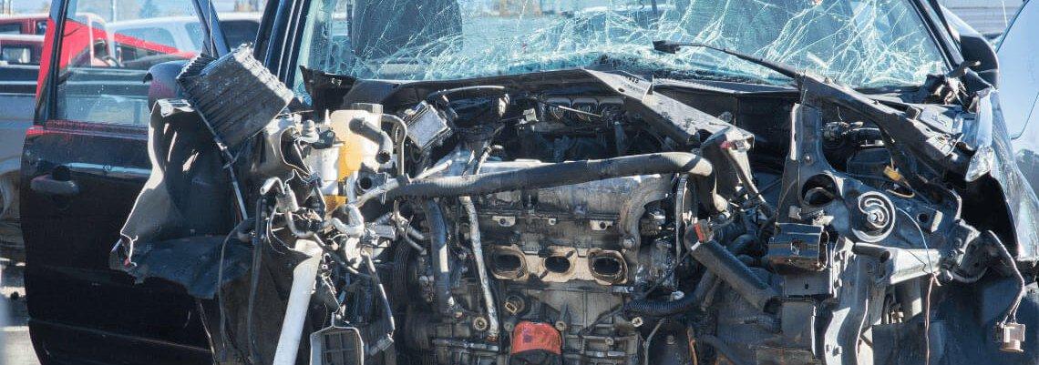 Smashed car front