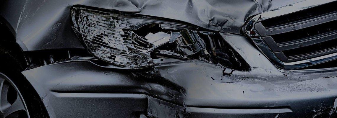 Front Corner of Car Crumpled