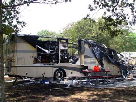 Travel Trailer Got Burned after Fire