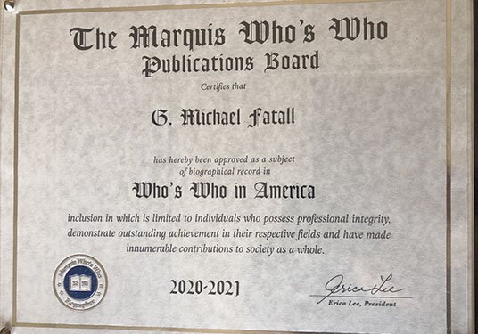 The Marquis Who's Who Award for 2020-2021