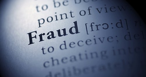 The word fraud in a dictionary