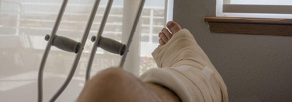Injured leg resting