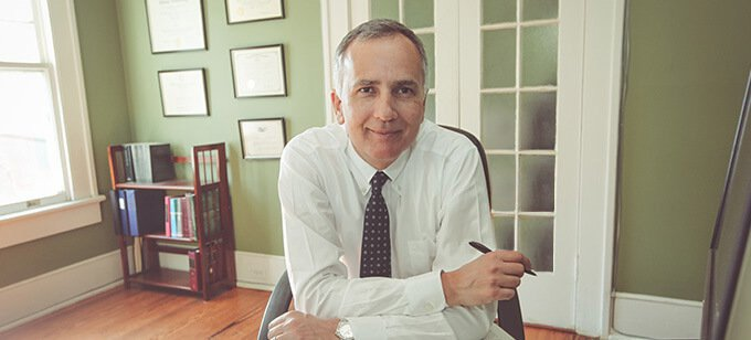 Attorney James Glober in his office