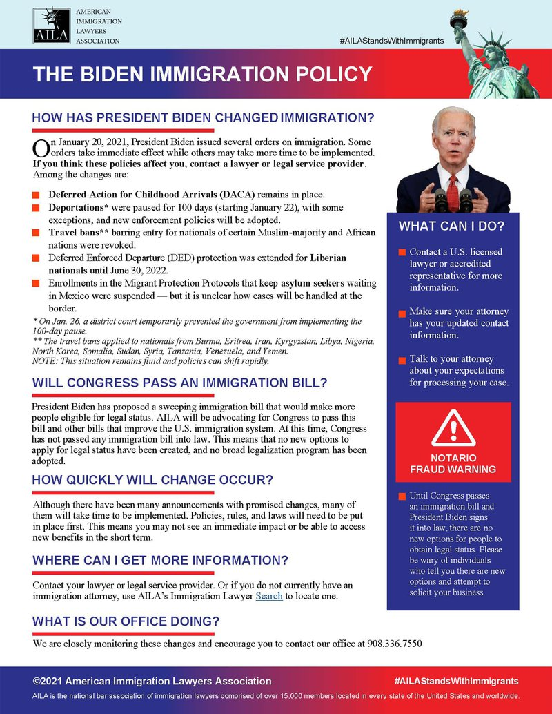 Biden Immigration Policy document
