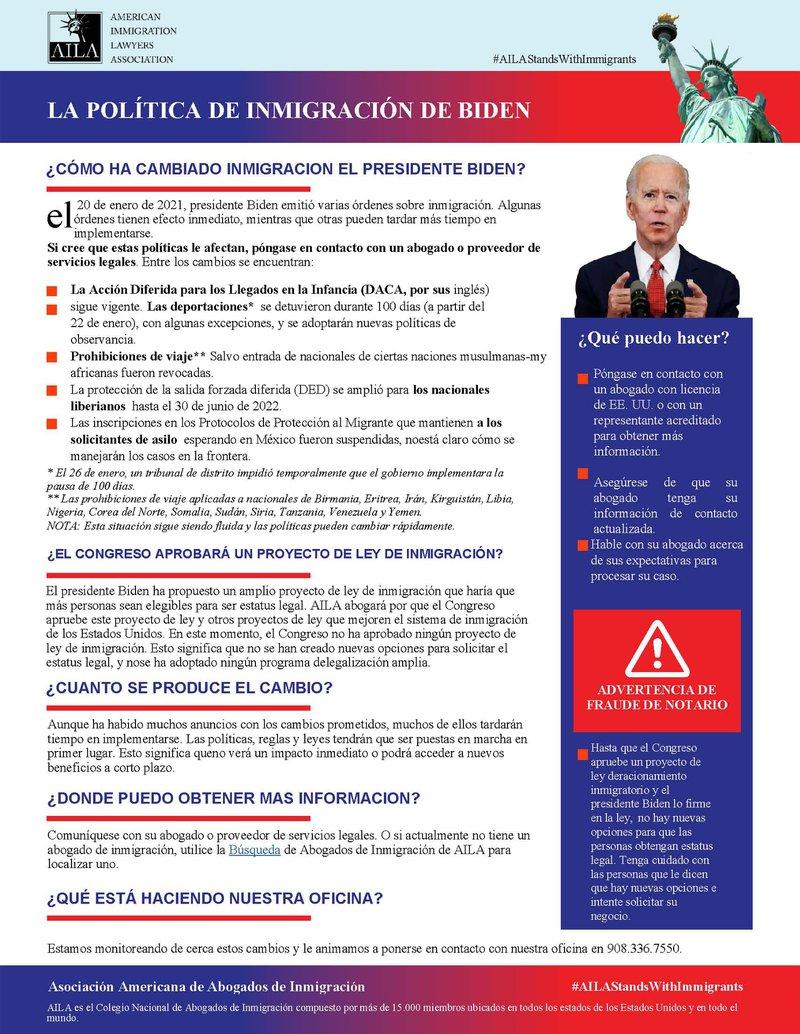Documento de Politica de Inmigracion de Biden